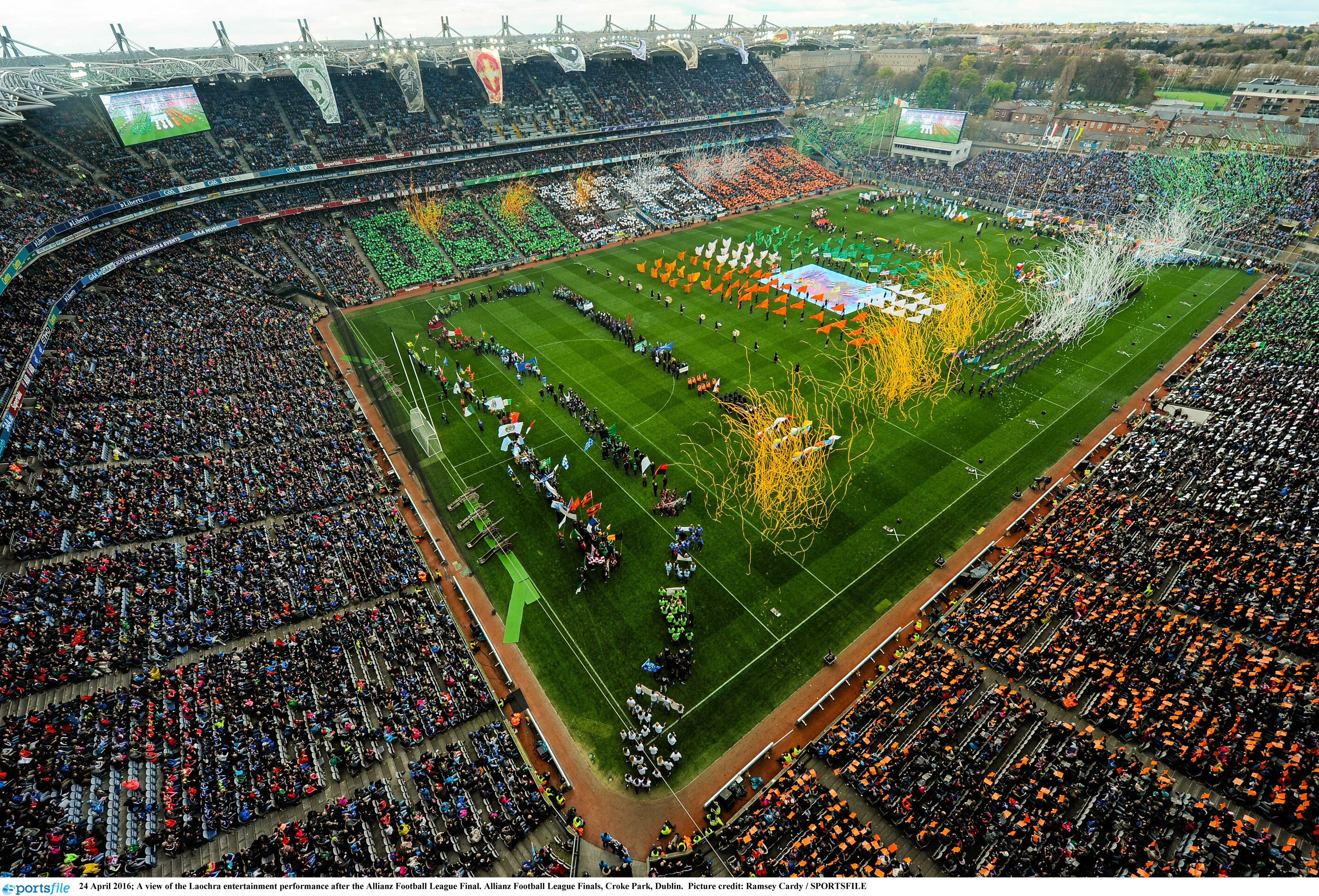 Bird's-eye view of Croke Park at the end of the Laochra performance.