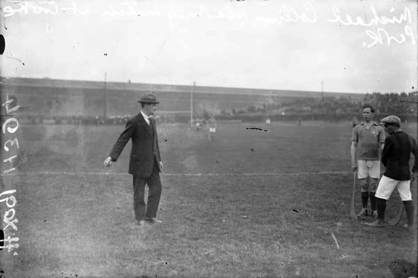 Michael Collins throwing in the sliotar at the 1921 Leinster Hurling Final