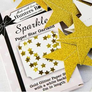 Sparkle Paper Garland Gold Stars
