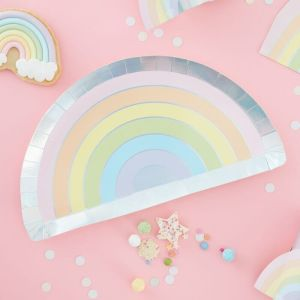 Pastel Party Rainbow Shaped Paper Plates (8)