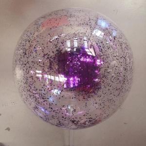 PVC Balloon with purple glitter confetti