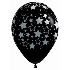 Silver Metallic Star Print Latex Balloons (5)