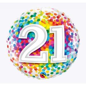 Rainbow Confetti 21st Birthday 18 inch foil balloon