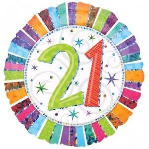 Happy 21st Birthday Radiant 18 inch Foil Balloon