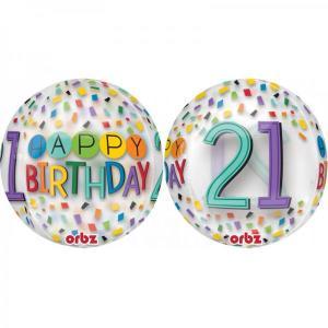 Happy 21st Birthday Rainbow Confetti Orb Balloon