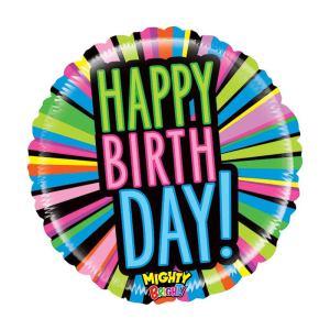 Neon lights Happy Birthday Balloon 21 inch