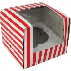 Red Striped Cupcake Box (10)