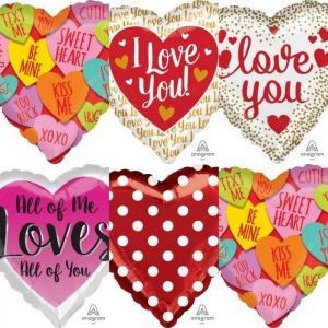 Assorted Valentines day foil Balloons 18 inch
