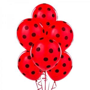 Polka Black and Red Balloons (5)