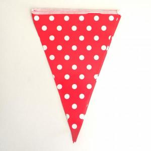 Red Dotted Paper Flag Bunting