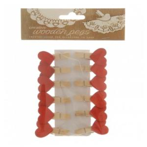 Red Wooden Heart on peg (12)
