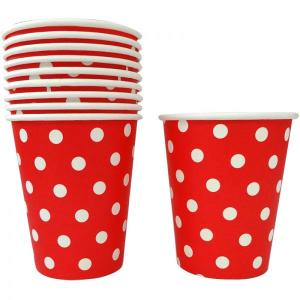 Red Dotted Paper Cups (10)