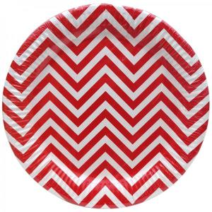 Red Chevron Paper Plates (10)