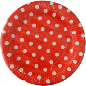 Red Dotted Paper Plates (10)