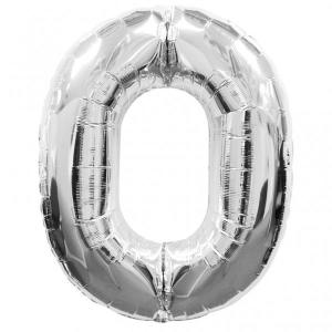 Silver Metallic Foil Balloon Number 0