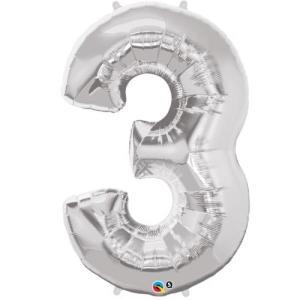 Silver Metallic Foil Balloon Number 3