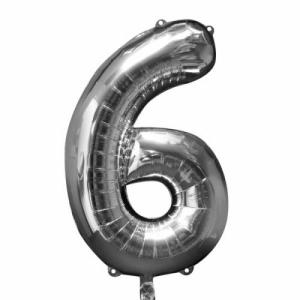 Silver Metallic Foil Balloon Number 6