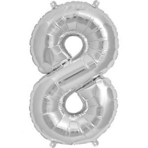 Silver Metallic Foil Balloon Number 8