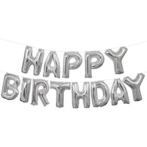 Happy Birthday Silver Foil Letter Balloons 16 inch