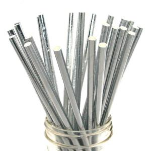 Solid Silver Party Straws (25)