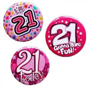 Happy 21st Birthday Badge Pink Design