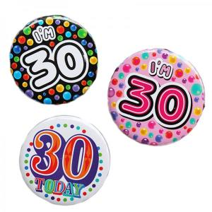 Happy 30th Birthday Badge Pink Design