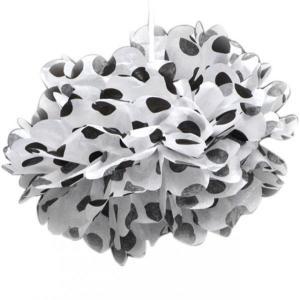Black Dotted Tissue Paper Pom Poms (30cm)
