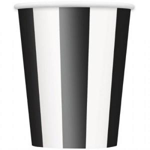 Black Striped Paper Cups (6)