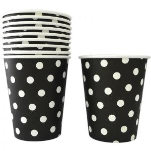 Black Dotted Paper Cups (10)