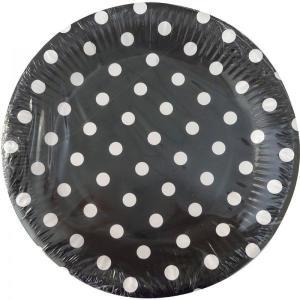 Black Dotted Paper Plates (10) - XXX