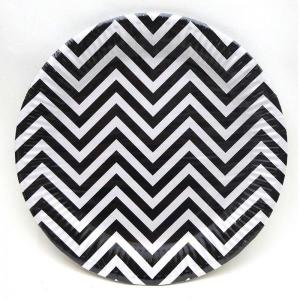 Black Chevron Paper Plates (10)