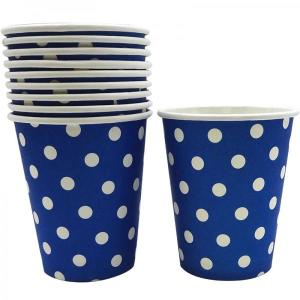 Navy Blue Dotted Paper Cups (10)