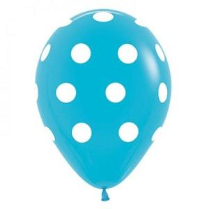 Pastel Blue Dotted Balloons (5)
