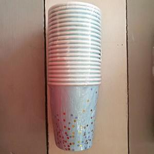 Light blue Paper Cups with gold and blue dots