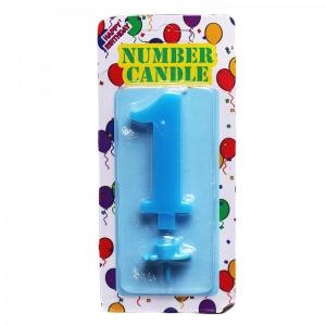 Blue Number Candle 1