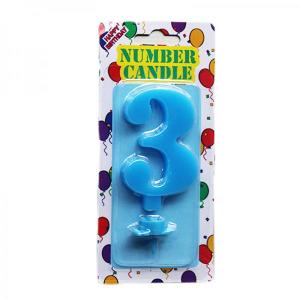 Blue Number Candle 3