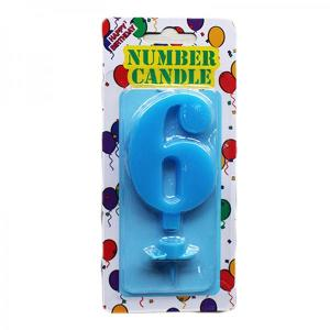 Blue Number Candle 6