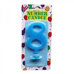 Blue Number Candle 8