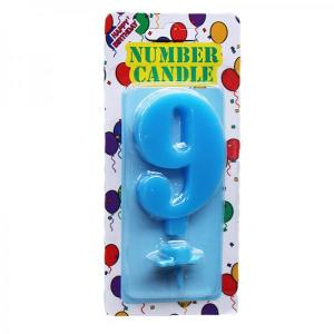 Blue Number Candle 9