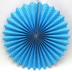 Sky Blue Dotted Decorative Fan