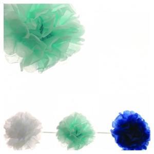 Blue Garland Pom Poms