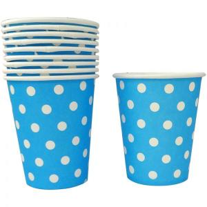 Sky Blue Dotted Paper Cups (10)