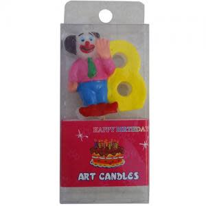 Assorted Clown Number Candle