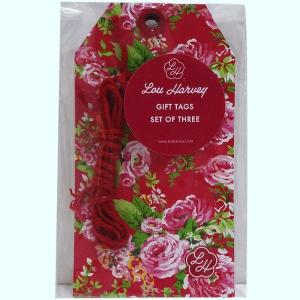 Red China Rose Gift tag (3pc)