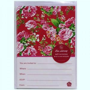 Red China Rose Invitations (12pc)