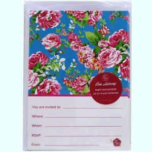 Turquoise China Rose Invitations (12pc)