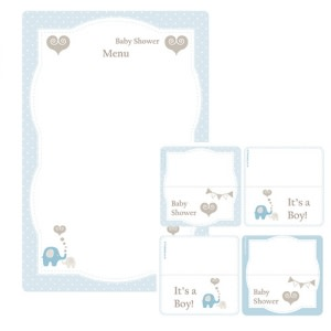 Elephant Baby Shower - Tent Cards (8) and Menu (1)