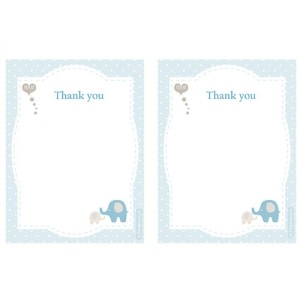 Elephant Baby Shower - Thank You Cards (8)