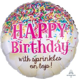 Happy Birthday With Sprinkles On Top Foil Balloon 17 Inch