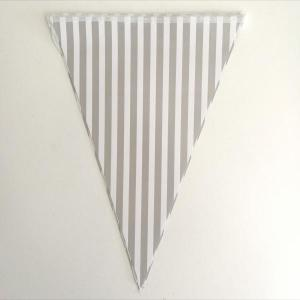 Grey Striped Paper Flag Bunting